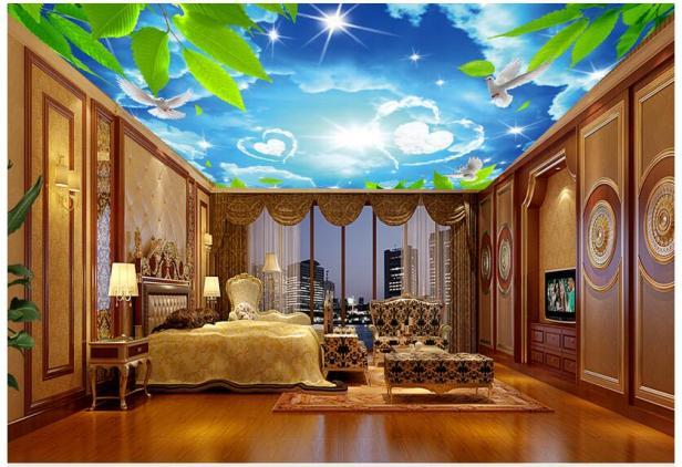 Mẫu vẽ tranh trần mây đẹp kết hợp nội thất