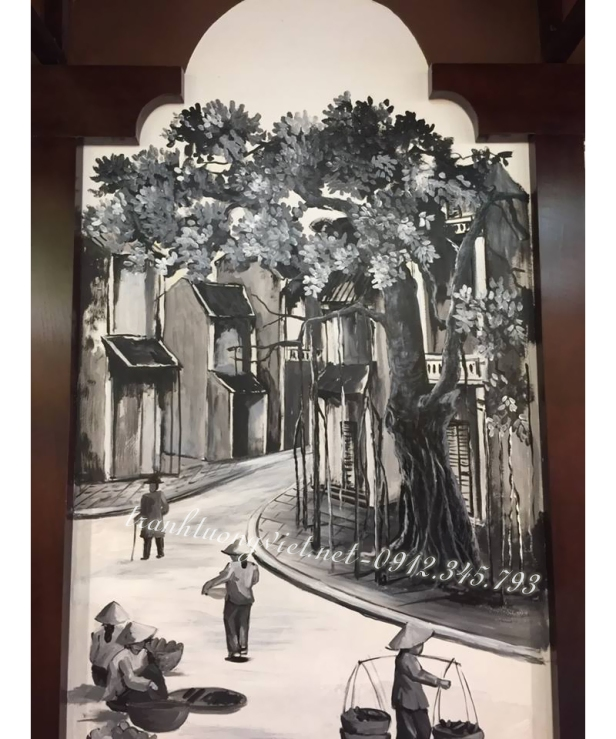 Vẽ tranh tường phố cổ tại Trần Nhân Tông
